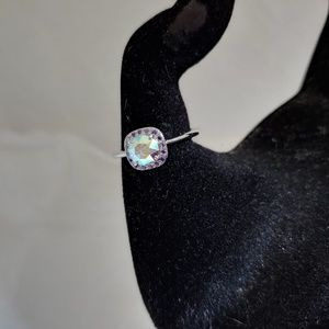 Silvertone Ring with Multicolored Center Stone